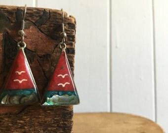scenic ocean earrings ~ vintage triangle dangle earrings