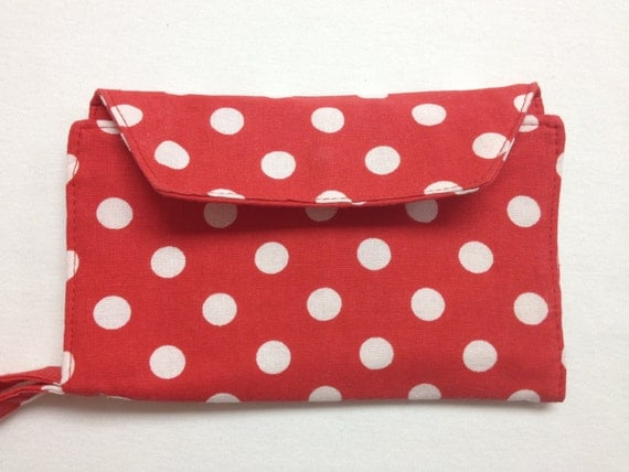 The Minnie Mouse: Red and White Polka Dot Cell Phone Wallet