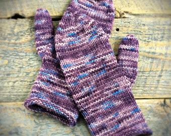 Winter mittens her, mittens fall winter, knit mittens, wool winter mittens, purple knit mittens, wool mittens, warm mittens, fall cozy knit
