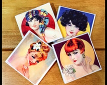 """4"""" x 4"""" Henry Clive Pin-Up Ceramic Coasters - (Set of 4) - Art Coasters - Drink Coasters - Home Decor"""