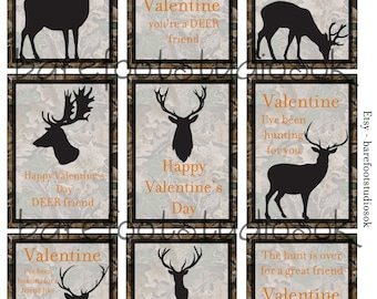Camo/Hunting Printable Valentines 8.5x11 Digital Instant Download