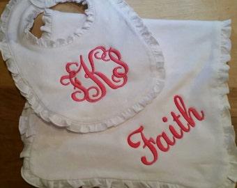 ARB ruffle bib w/ matching burp cloth