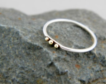 Silver ring Three Gold Dots, slim silver ring, thin silver ring, silver ring with balls