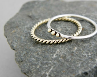 Set of 2 stacking silver gold ring, silver stackable rings, set of 2 rings, stack rings, gold twisted ring