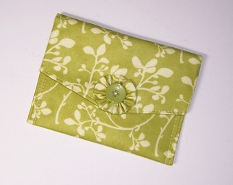 Small Fabric Wallet, Thin Wallet, Passport Holder, Lime Print Wallet