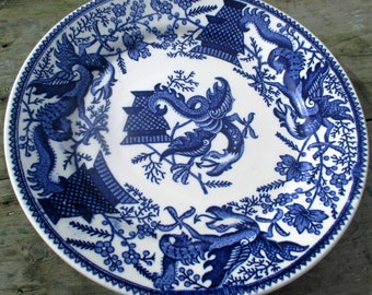 Antique Plate Lonka Confiserie Blue White Dragons Collector Rare