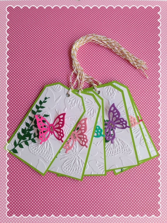 Set of (6) 3D Butterfly Gift Tag-Bookmark-Spring Tag-Embossed Tag