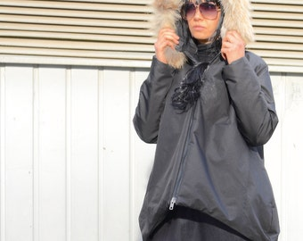 Oversized black jacket, fox fur hoodie, plus size women, warm winter coat, large size zipper jacket, high neck collar, evening jacket
