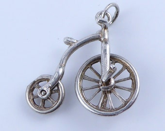 Silver bracelet charm - Penny Farthing with moving wheels
