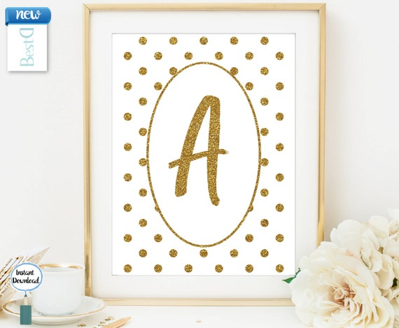 Items similar to monogram letter a wall art printablegold for Gold wall decor letters