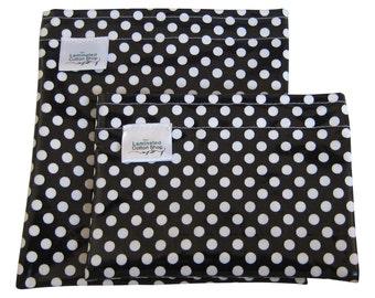 Reusable Snack Bag Set/ Lunch Bag Food Grade Waterproof Dishwasher Safe Laminated Cotton