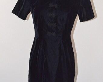 Vintage Estate My Michelle Black Velvet Velour Dress Made in USA