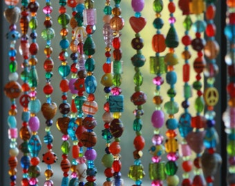Beaded Curtain,Glass Beaded Suncatcher  Window Curtain Beaded Door Curtain Hanging  Door