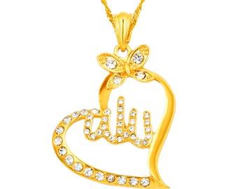 Muslim 18K Yellow Gold Plated Arabic Islamic God Allah  Heart Pendant Necklace Jewelry 18''&24''