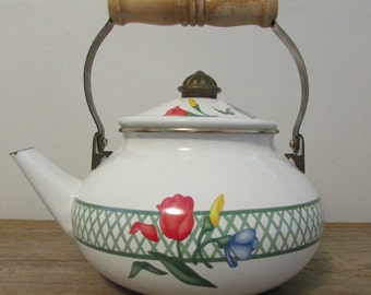 Tea Kettle, Enamel Over Steel, White With Morning Glory Flowers, Taiwan, 1980's