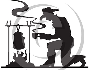 Cowboy Silhouette Making Coffee - Personal or Commercial Use Royalty Free