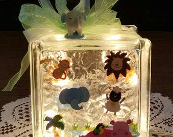 JUNGLE ANIMAL Lighted Glass Block Nightlight for Children, Baby Light, Shower Gift, Glass Block for Kids