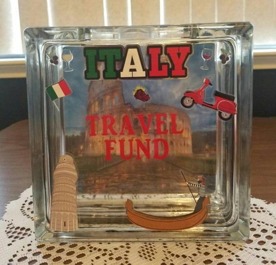 Italy travel fund glass block piggy bank vacation fund for Travel fund piggy bank