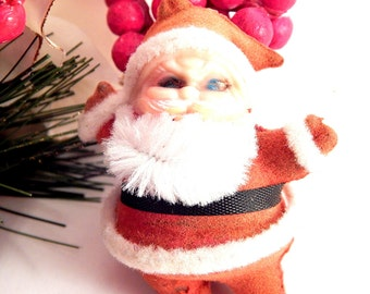 Santa Claus Christmas Tree Ornament Flocked Plastic Vintage 1950's Retro Kitsch Decoration Craft Supply
