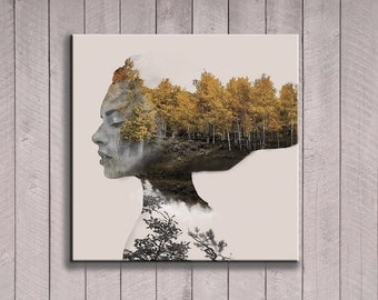 Mother Nature wall art. Gaia earth mother forest spirit print. Abstract woman home decor. Modern surreal fantasy digital INSTANT DOWNLOAD