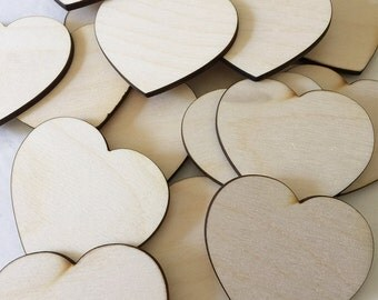 "25 - 3"" Wood Hearts - Unfinished Wood Heart"