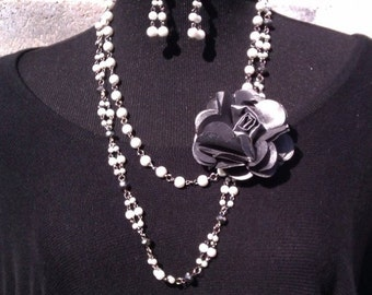 Silver Gray Rose, Glass Pearl, and Crystal Necklace & Earring Set