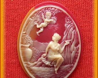 2 Christian Religious Guardian Angel at Fountain or Venus and Cupid Dark Ivory on Shell Look Color 40mm x 30mm Resin Costume Jewelry Cameos