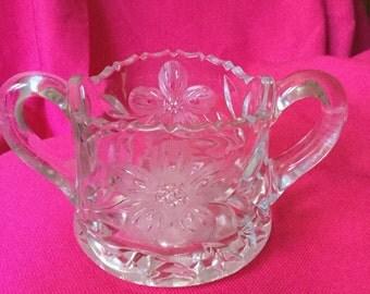 Beautiful heavy crystal glass 1950's sugar bowl