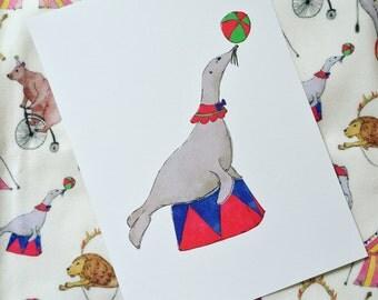A4 Circus Seal Print