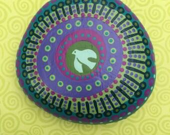 Holy Spirit Mandala Prayer Stone-painted rock-prayerful art