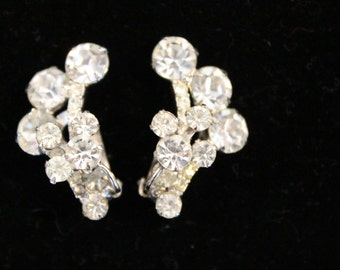 Vintage Clear Rhinestone Three-Dimensional Prong Set Clip Earrings