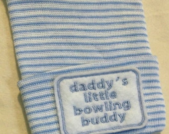 Newborn Hospital Hat daddy's little bowling buddy. 1st Keepsake, Baby Boy Hat. Gender Reveal, Surprise Dad! Coming Home Hat, Cute Baby Gift