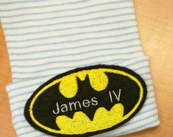 EXCLUSIVE Newborn Hospital Hat Monogramed Bat with Name! For a BOY or GIRL! You Choose Hat and Applique Color. 1st Keepsake! Super Cute!