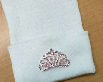 Newborn Hospital Hat Exclusive. White Hat with Pink Rhinestone Tiara. Her Very 1st Tiara Keepsake! Th