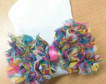 Newborn Hospital Hat. Colorful Chiffon Bow. Baby Beanie. 1st Keepsake! Newborn Beanies. Great Gift and Goin