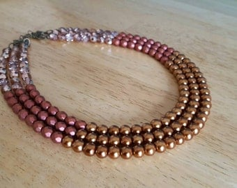 Copper Pearl Statement Necklace, Copper Pearl,Satin Copper Pearl, Multi-Strand Necklace, Multi-color Necklace, Metallic Crystal Pearl