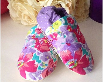 Pink and Purple Floral Soft Sole Baby Shoe - Moccs - Genuine Leather