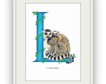 Lemur Letter Art Print, Alphabet Art by Nicky Cooper, British Artist, UK Seller
