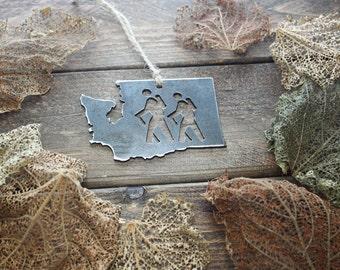 Washington Hikers Steel Ornament WA Metal State Host Gift Hike Moutains Wander Keepsake Travel By BE Creations