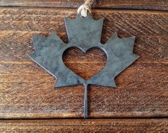 Fall Maple Leaf Christmas Ornament Love Canada Rustic Metal Heart Christmas Tree Ornament Holiday Gift Industrial Decor Wedding Favor
