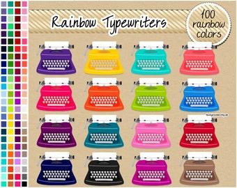 100 digital typewriter clipart Digital scrapbooking kit clip art in rainbow pastel bright dark neutral colors for bookmarks cards invites