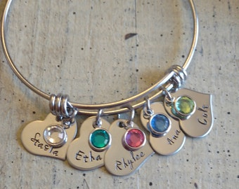 Heart Hand stamped name charm bangle Bracelet with birthstone great gift for Grandma Mother Couples Nana Mom Custom Personalized Jewelry