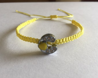 "girl's yellow macrame friendship bracelet 5.5"" letter C initial"
