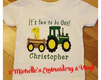 John deere 1st birthday shirt,monogrammed John deere birthday shirt,Personalized Tractor Shirt,applique John Deere shirt,John Deere tshirt