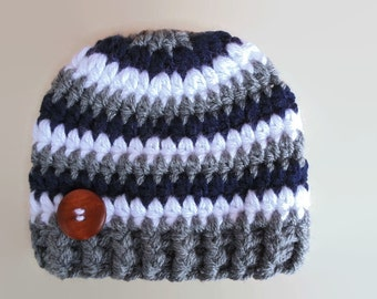 Baby boy hat, navy, white and gray striped baby boy hat, newborn hat, baby boy beanie, newborn boy outfit, newborn striped hat, baby boy cap