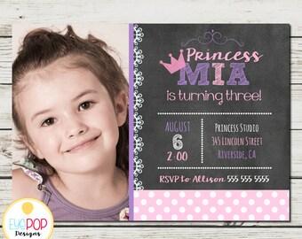 CHALK PRINCESS Invitation * Princess Party * Birthday * Pink Purple Chalkboard * Party Decor * Digital Printable