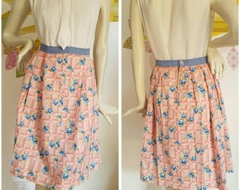 50% off with coupon SaleAGoGo  A Handmade pleated skirt made with 50s fabric.