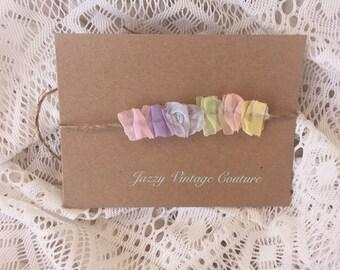 Rainbow baby tie back, clouds, photo prop, newborn tieback, twine