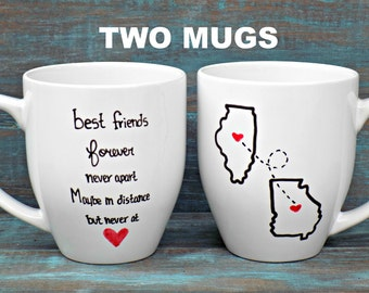 TWO Best Friends Mugs-Double Sided, State Mug, Long Distance Mug, Going Away Gift, Miss You Mug, Large Mug