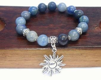 Blue Aventurine Bracelet Blue Aventurine Charm Bracelet Blue Aventurine Yoga Meditation Bracelet Healing Migraine Bracelet Blue Aventurine
